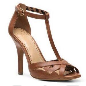 "Jessica Simpson ""Jacine"" T-Strap Heels 7.5"